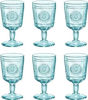 Bormioli Rocco Romantic Wine Glasses Set - Vintage Italian Cut Glass Goblets - 320ml - Blue - Pack of 6