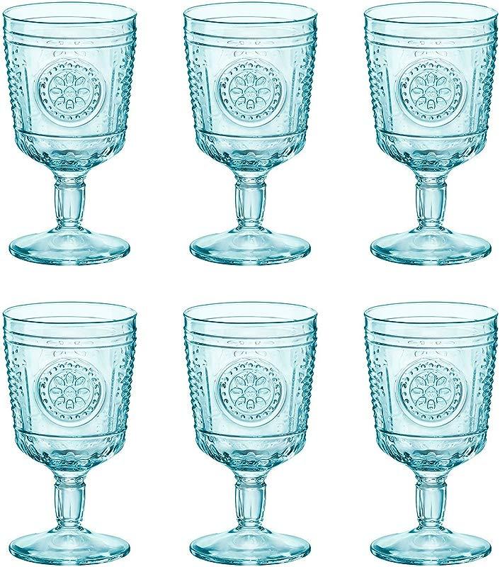 Bormioli Rocco Romantic Wine Glasses Set Vintage Italian Cut Glass Goblets 320ml Blue Pack Of 6