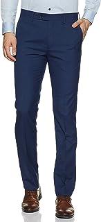 Arrow Men's Pleat-front Slim Fit Formal Trousers, Navy Blue