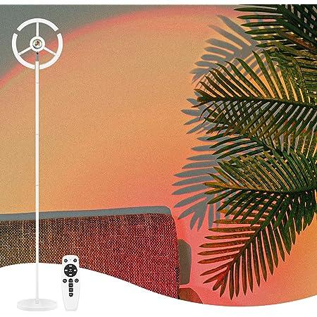 CRAZCALF Lampadaire, 27W/2700LM Sunset Lampe RGB Réglable Lampe de Projection Coucher de Soleil & 3000K~6500K LED Moderne Lampadaire Liseuse avec Télécommande, 180CM Lampadaire sur pied Salon, Chambre