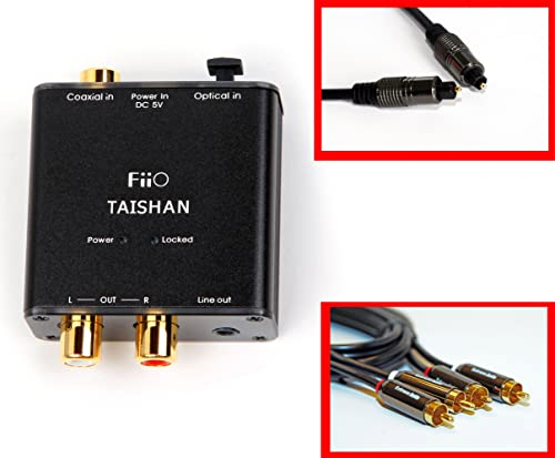 Fiio D3 (D03 K) Digital to Analog Audio Coverter with Extreme Audio Optical TOSlink Cable and RCA to RCA Audio Cable (192kHz/24bit Optical and Coaxial DAC) product image
