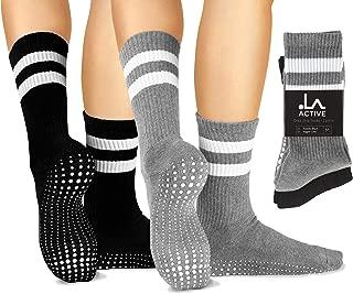 LA Active Grip Socks - Yoga Pilates Barre Ballet Non Slip Crew Hospital Socks