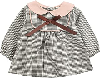 Fairy-Baby Toddler Girls Autumn Playwear Long Sleeve Cotton Dress Kids Daily Homewear Spring Outfit with Cute Peter Pan Collar (Color : Gray, Size : 100)