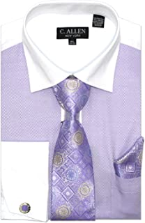 C. Allen Men's Fancy JQD Front Regular Fit Dress Shirts with Tie Hanky Cufflinks Combo
