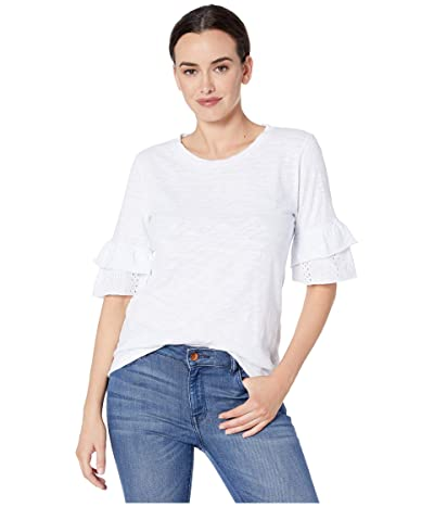 Dylan by True Grit Ruffle Short Sleeve Tee with Eyelet and Embroidery (White) Women