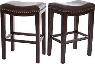 Christopher Knight Home Jaeden Backless Faux Leather Counter Stool | Set of 2 | in Brown,