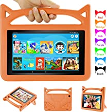 Kids Case for Amazon Fire HD 8 Tablet- Auorld Kids-Friendly Protective Stand Cover with Handle for Fire HD 8 Tablet (Compatible with 2018/2017/2016 Release) (Orange)
