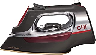 CHI Steam Iron for Clothes with Titanium Infused Ceramic Soleplate, 1700 Watts, Retractable Cord, 3-Way Auto Shutoff, 400+...