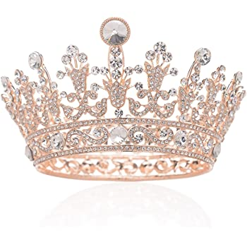 SWEETV Rose Gold Full Round Crystal Queen Crown Rhinestone