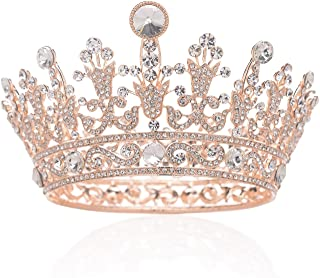 SWEETV Full Round Crystal Crown Rhinestone Bridal Tiara Princess Headpieces Party Hair Accessories, Rose Gold