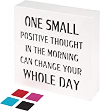 KAUZA One Small Positive Thought Inspirational Wall Art Plaques with Sayings Motivational Gifts Office Decoration 5.5 x 5.5 Inch