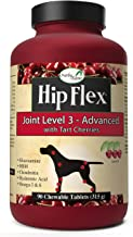 NaturVet Overby Farm Hip Flex Joint Level 3 Advanced Care with Tart Cherries for Dogs, Chewable Tablets, Made in USA