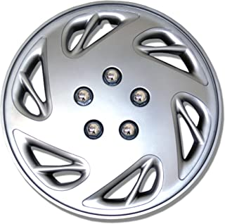 Tuningpros WC1P-15-9054-S - Pack of 1 Hubcap (1 Piece) - 15-Inches Style 9054 Snap-On (Pop-On) Type Metallic Silver Wheel Covers Hub-caps