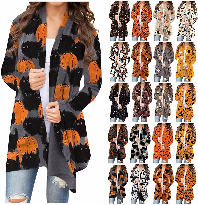 Nulairt Women Halloween Pumpkin Cat Bat Cardigans Long Sleeve Open Front Sweater Overwear Coat Lightweight Sweatshirt