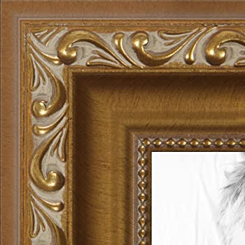 Amazon Com Arttoframes 12x18 Inch Gold With Beads Wood Picture Frame Womd10051 12x18 Single Frames