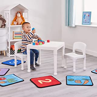 comprar comparacion Liberty House Toys Children's Plastic Table and Chairs Set. Juego de Mesa Dos sillas, Blanco, 51cm H x 43.5cm W x 51cm D