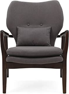 Christopher Knight Home Teague Espresso Wood with Dark Grey Fabric Club Chair
