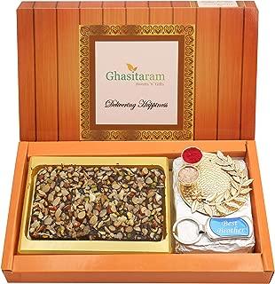 Ghasitaram Gifts Rakhi for Brother Box Of Dryfruit Chocolate Bark, Pooja Thali and Best Brother Keychain and Best Brother Keychain
