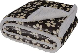 Longrich Flannel Paw Print & Ultra Soft Sherpa Throw Blanket, 50