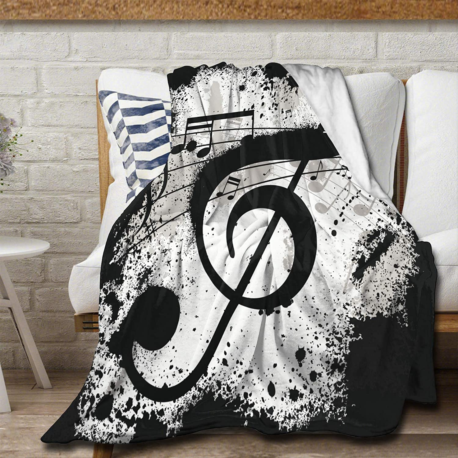 Avalokitesvara Music Note Free shipping Black Excellent and Flannel Blanket Throw White