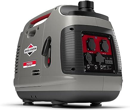 Briggs & Stratton 030698 Generador inversor portátil de Gasolina PowerSmart Series P2200 de 2200 vatios/1700 vatios de energía Limpia, Ultra silencioso y Ligero, gris, Medium