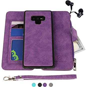 Samsung Galaxy Note 9 Case, Modos Logicos [Detachable Wallet Folio][2 in 1][Zipper Cash Storage][Up to 14 Card Slots 1 Photo Window] PU Leather Purse with Removable Inner Magnetic TPU Case - Purple