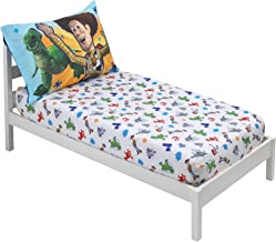 Disney 2 Pack Toddler Fitted Crib Sheet & Standard Size Pillowcase Set, Toy Story 4, Blue, Green, Red, White