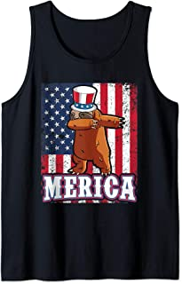 Dabbing Sloth Dab For Freedom Patriotic Merica 4th of July Tank Top
