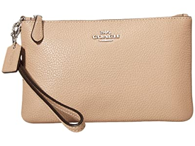 COACH Polished Pebble Small Wristlet (LH/Taupe) Wristlet Handbags