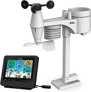 National Geographic Draadloos weerstation met buitensensor, wifi-kleurenweerstation met 7-in-1 professionele sensor voor w...
