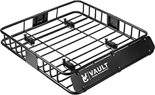 """Vault Cargo Management Universal Roof Basket Heavy Duty Cargo Roof Carrier Rack Ideal for Hauling Luggage, Spare tire, and Camping Gear - Roof Rack for SUV/Truck / Car (L 44"""" x W 39"""" x H 5"""")"""