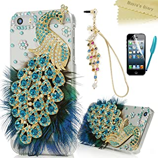 iPhone SE Case, iPhone 5S Case, iPhone 5 Case - Mavis's Diary 3D Handmade Bling Crystal Luxury Blue Peacock with Fashion Feather Shiny Sparkly Cover & Colorful Dust Plug & Pen & Screen Protector