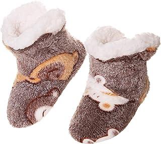 Kids Boy Girl Soft Fleece Lined Slipper Booties Children Anti-Slip Warm Winter Floor Indoor Slipper Shoes
