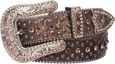 Snap On Western Cowgirl Alligator Rhinestone Studded Leather Belt