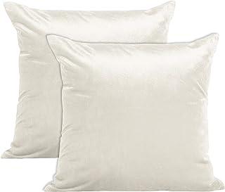 Encasa Homes VELVET poszewki na poduszki zestaw 2 szt. (50 x 50 cm) - białe - jednokolorowe farbowane, miękkie i gładkie, ...