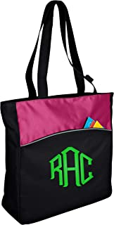 all about me company Canvas Two-Tone Colorblock Tote Bag   Personalized Monogram/Name Shoulder Bag (Passion Pink/Black)