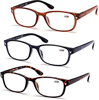 High Value Pack! 3- Pack Rectangle Reading Glasses Readers for men women w/Spring Hinges Free Pouches +3.00