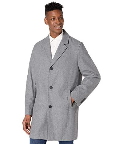 Cole Haan 37 Melton Wool Notched Collar Coat with Welt Body Pockets (Light Grey) Men