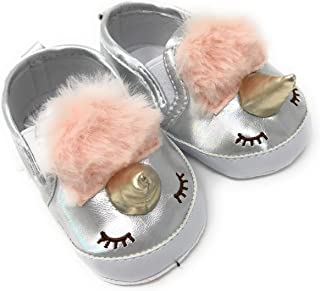 Rising Star Unicorn Baby Girl Infant Crib Shoes with Horn, Silver Metallic and Pink