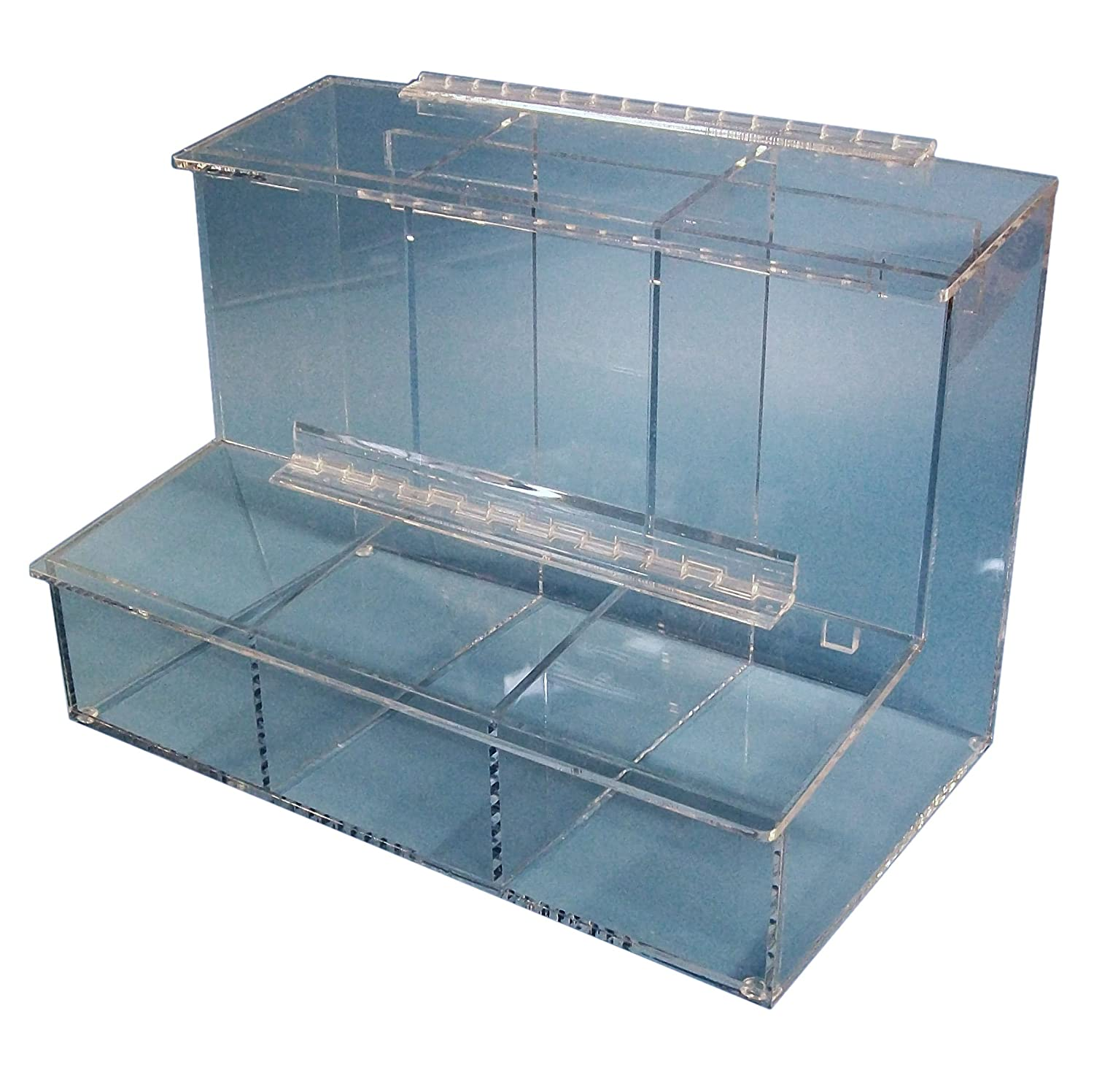 S-Curve FCD-03 Acrylic 3 Compartment Access Dispenser with Ranking TOP17 Tray Max 85% OFF