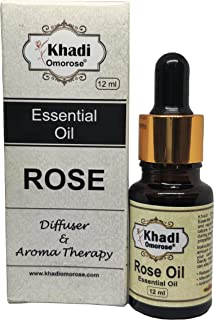 Khadi Omorose Rose Essential Oil, For Skin And Aroma with Self Dispensing Dropper Plug -12ml