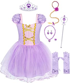 WonderBabe Toddler Girls Princess Dress Costume for Halloween Dress up Birthday Party Outfits 1-8 Years (Purple-006+Access...