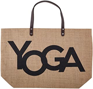 Hold Everything Women's Large Jute Bag Tote, Yoga, 22 Inch