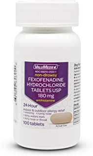 ValuMeds 24-Hour Allergy Medicine (100-Count) Fexofenadine HCl Tablets | Non-Drowsy Antihistamine | Pollen, Hay Fever, Dry...