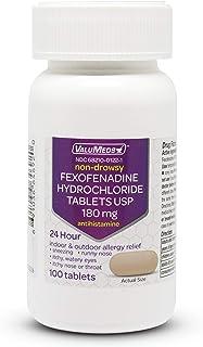 ValuMeds 24-Hour Allergy Medicine (100-Count) Fexofenadine HCl Tablets | Non-Drowsy Antihistamine | Pollen,...