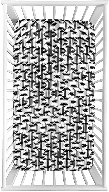 Geometric Fitted Crib Sheet Minimalist Striped Overlappi San Francisco Mall Zig 2021 autumn and winter new Zag
