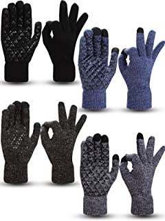 4 Pairs Winter Knit Touchscreen Gloves Warm Texting Gloves Elastic Anti-slip Gloves for Adults