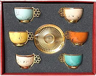 Alisveristime 12 Pc Turkish Greek Arabic Coffee Espresso Cup Saucer Porcelain Set Mixed Color