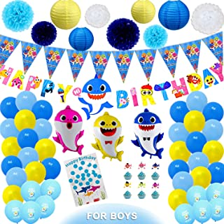 164 Pieces Baby Shark Party Supplies Baby Shark Birthday Decorations with Birthday Banner Flower Pom Poms Paper Lanterns Guest Book Cupcake Toppers and Balloons for Ocean Shark Theme by Ajworld