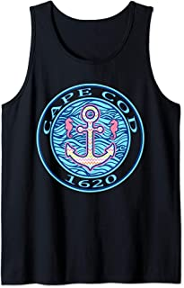 Cape Cod Preppy T Shirt Anchor Seahorse Pink Blue Tank Top